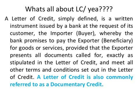 Letter Of Credit Its Types Types Of Letter Of Credits On 11 09 2012