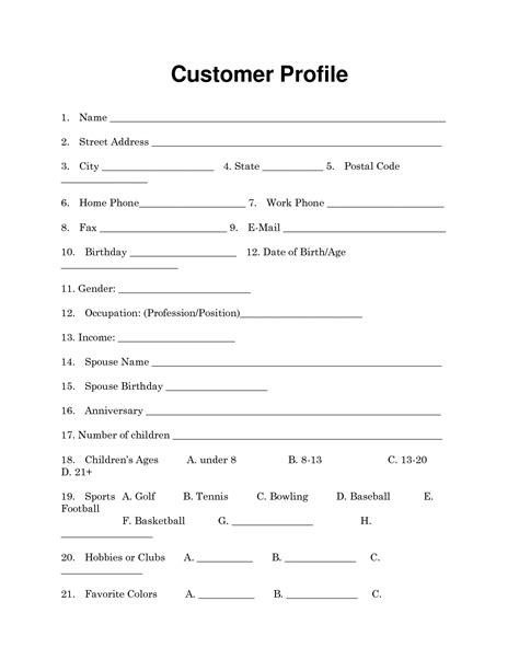 customer profile sheet template company profile template all form templates
