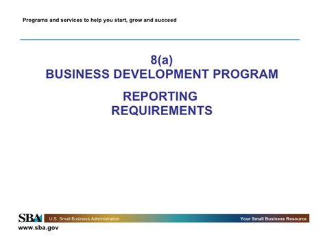 Mba Degree Requirements by 8 A Reporting Requirements Sba Homepage