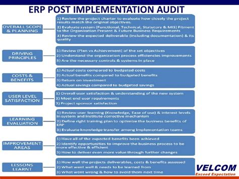 Post Implementation Plan Template by Erp Post Implementation Audit