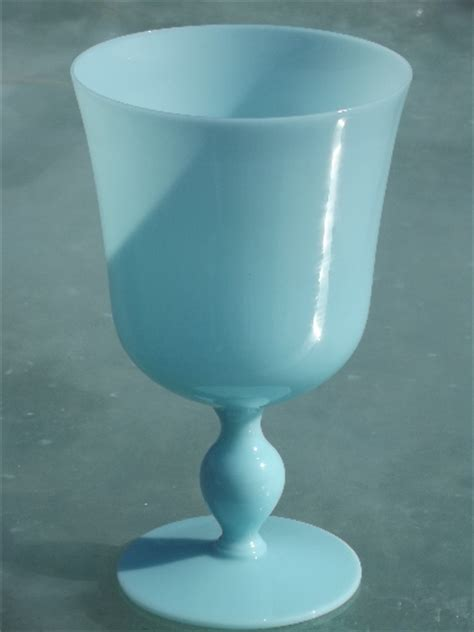 Azure blue opaque milk glass, blown glass goblet vase