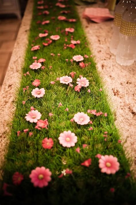 grass as a table runner baby shower