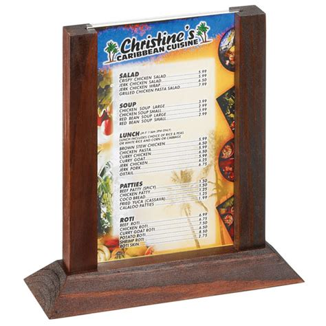 the table menu two view wood table tent menu holder mahogany frame 4 x 6inch drinkstuff