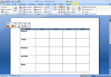 layout in microsoft word how do i create and format tables in word 2007