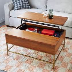 storage coffee table walnut antique brass west elm
