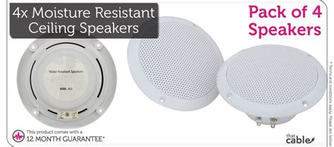 Moisture Resistant Ceiling Speakers by 4x Moisture Resistant Ceiling Speakers 80w 8ohm 5