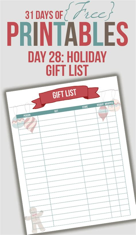 gift list printable day 28 i heart planners