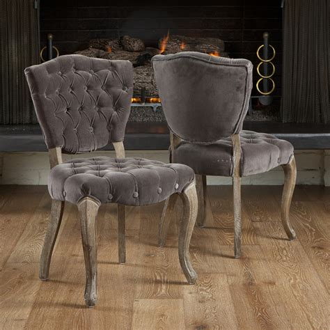Living Room Chairs Set Of 2 Violetta Tufted Charcoal Fabric Dining Chairs Set Of 2