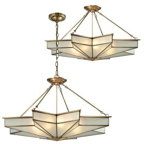 Elk 22013 8 Decostar Contemporary Brushed Brass Ceiling Hanging Light