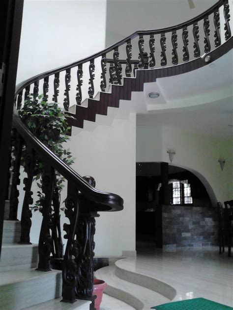 kerala home design staircase wooden furnitures designs middle class living room middle