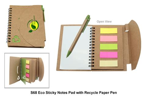 Buku Nota buku nota mesra alam dan kertas lekit dengan pen