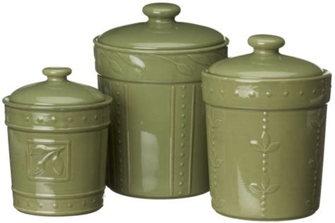 green canister sets new vintage sorrento collection stoneware set 3 canisters green antique finish ebay