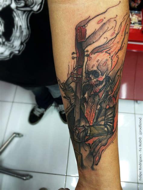 cartoon tattoo forearm cartoon style forearm tattoo of burning skeleton musician