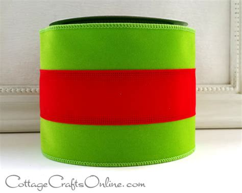 christmas wired ribbon 4 lime green with red stripe