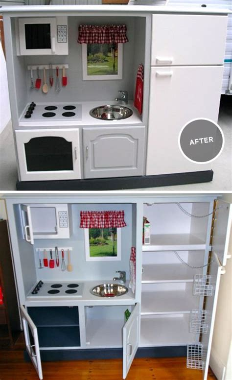 kids kitchen furniture before and after handmade toy kitchen from old entertainment center i cant begin to express