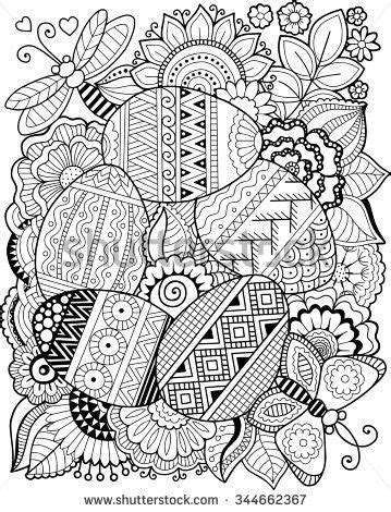 vector coloring book  adult easter egg coloring