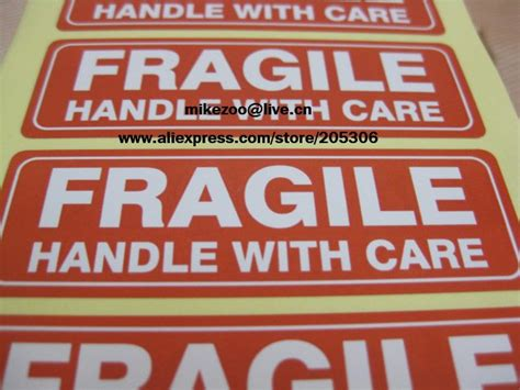 Lakban Fragile Handle With Care Putih Promo 500pcs lot fragile handle with care 76x25mm self adhesive shipping label sticker item no ss16