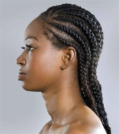 female latest tiny braids mixed with ghana weaving cornrow braid hairstyles to the side hairstyles