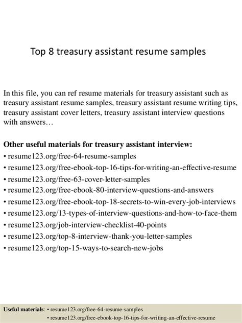 Treasury Assistant Cover Letter by Top 8 Treasury Assistant Resume Sles