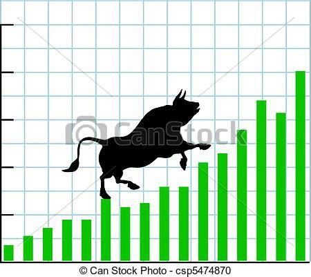 up bull market rise bullish stock chart graph. bull climbs