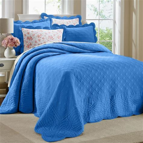 scalloped bedding queen bright blue 100 cotton scalloped textured bedspread
