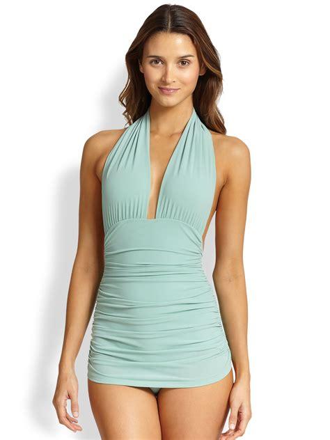 Halter One Swim Suit norma kamali one halter swimsuit in green lyst