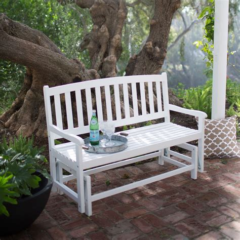 outdoor loveseat glider 4 ft outdoor patio glider chair loveseat bench in white