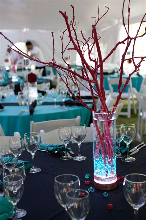 led branches centerpieces pink and blue centerpieces centerpiece lighted vase trqoise rocks blue and wedding