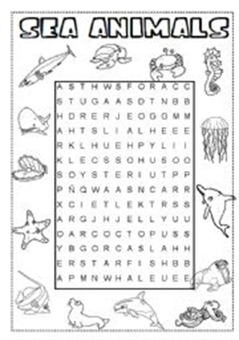 printable under the sea word search english worksheets sea animals wordsearch