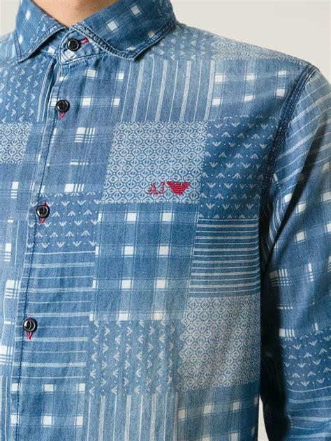 Baju Blouse Blus Denim Printing armani patchwork print denim shirt in blue for lyst