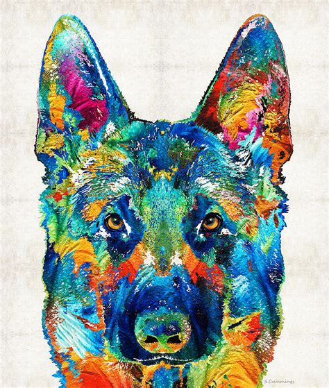 colorful dogs colorful german shepherd by painting by