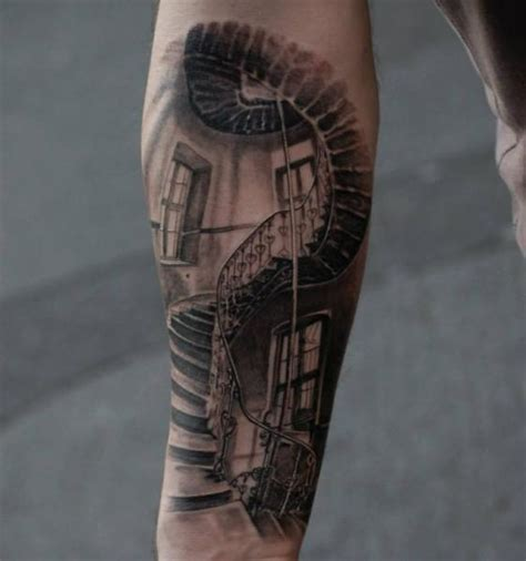 staircase tattoo arm realistic stair by matthew