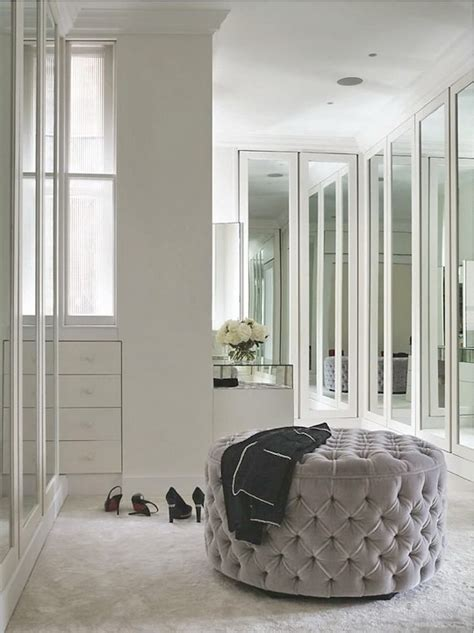 dressing room ottoman mirrored bi fold doors contemporary closet