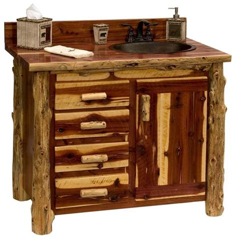 Custom Rustic Red Cedar Wood Log Cabin Lodge Sawmill Log Bathroom Vanity