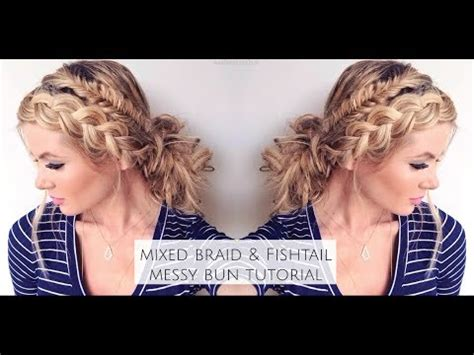 Amber Fillerup by Tutorial Mixed Fishtail And Dutch Braid Messy Bun Youtube