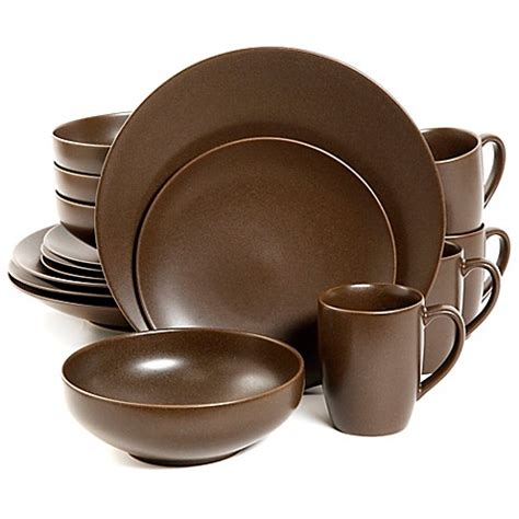 gibson paradiso 16 dinnerware set in brown