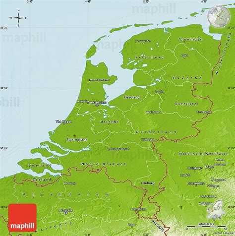 netherlands mountains map physical map of netherlands