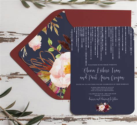 Wedding Invitations Navy by Navy And Marsala Wedding Invitation Rustic Navy