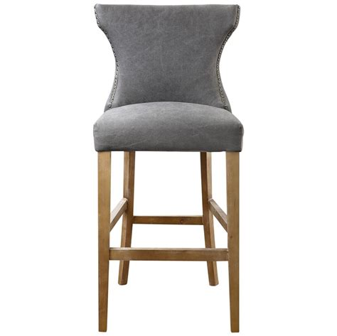 Gray Washed Wood Bar Stools by Grover Coastal Grey Linen Wing Back Counter Stool