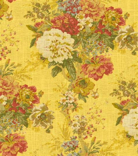 yellow home decor fabric home decor print fabric waverly ballad bouquet gingersnap jo ann