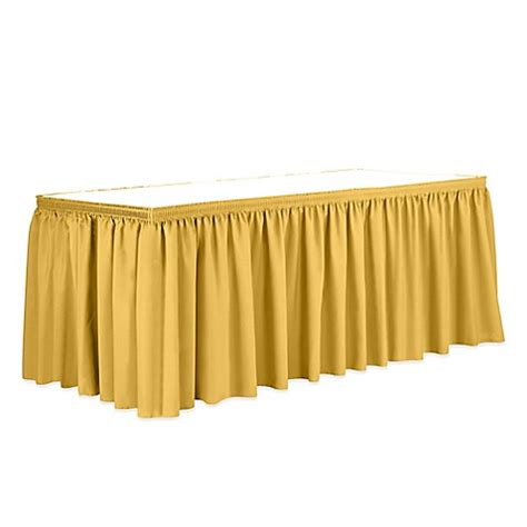 gold bed skirt shirred 17 foot polyester table skirt in gold