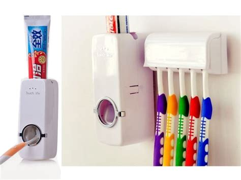 Diskon New Automatic Toothpaste Dispenser And Brush Holder Set white automatic auto toothpaste dispenser 5 toothbrush holder set wall mount ebay