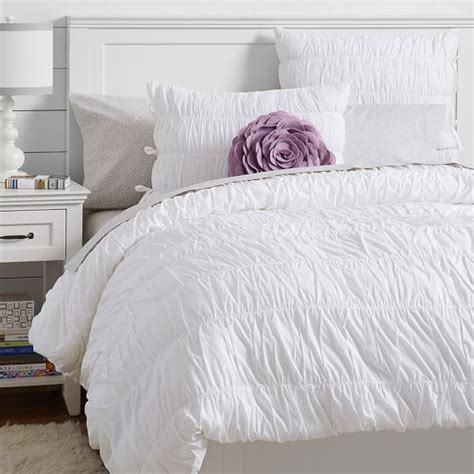 Bedspreads And Duvet Covers Ruched Duvet Cover Sham White Pbteen