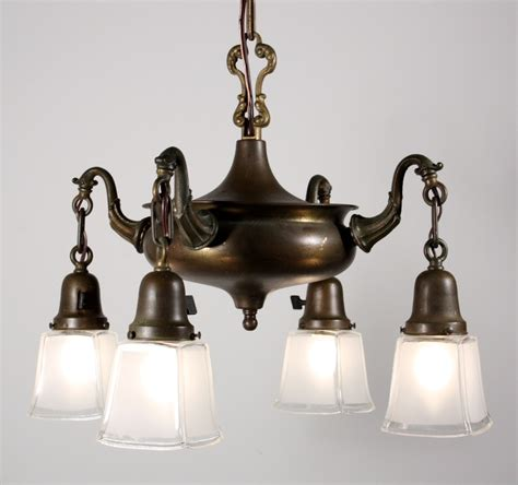 Antique L Shades For Sale by Wonderful Antique Four Light Brass Chandelier With Glass