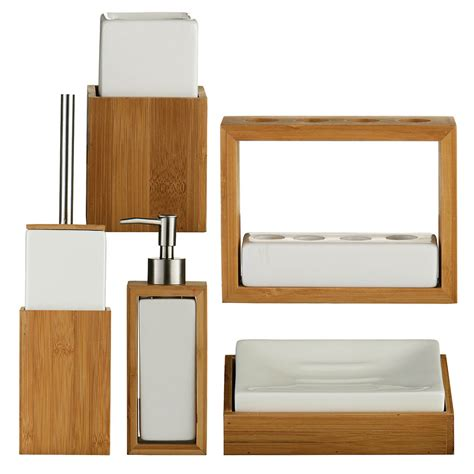bamboo wood white ceramic bathroom accessory set of 5