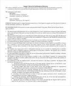 Musicians Contract Template by Sle Self Employment Agreement 5 Documents In Pdf