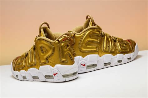Nike Air More Up Tempo Gold White new arrival nike air more uptempo supreme metallic gold