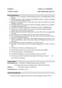Sap Bw Resume Sle by Sap Bo Resume