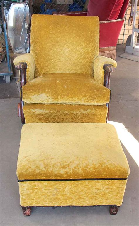 yellow recliner chair antique recliner with crushed yellow velvet olde things