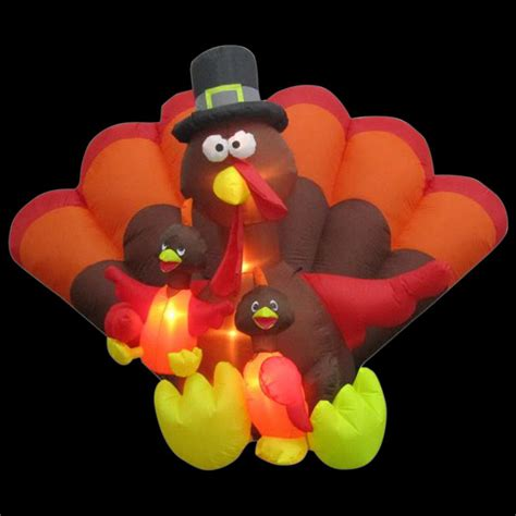 Home Depot Ideas Decoration gemmy 8 5 ft inflatable turkey family scene 74308 the